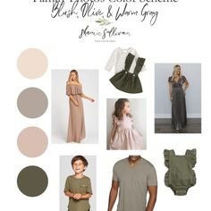 Family Photo Outfits Color Schemes - Blush, Olive, & Warm Gray - Shaunie Sullivan Photography Fall Family Picture Outfits, Spring Family Pictures, Christmas Pictures Outfits, Family Picture Colors, Family Pics, Family Photography Outfits, Family Portrait Outfits, Clothing Photography, Family Portraits