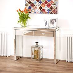 The Furniture Market Venetian Mirrored 2 Drawer Dressing Table with Mirrored White Stool 2 Drawer Dressing Table, Dressing Table Modern, Mirrored Dressing Table Set, Drawer Table, Dressing Mirror, Dressing Tables, Console Furniture, Mirrored Furniture, Furniture Market