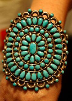 Zuni petitpoint Sleeping Beauty or Morenci turquoise cluster bracelet