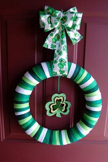 The Adventures of Mini-Martha: St. Patty's Day Felt Wreath-You Will Need:    1 foam wreath  6-10 pieces of 9x12-inch felt (amount depends on size of wreath)  Scissors and/or rotary tool with mat  Fabric glue  3 yd. ribbon  Cording or thin ribbon  Assorted holiday accessories