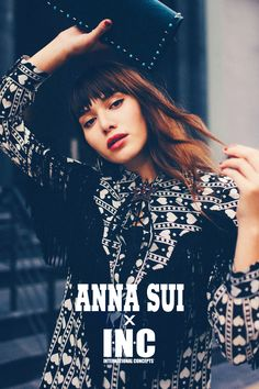Fringe for fall. The exclusive Anna Sui capsule collection with INC is here with original designs like the heart-print and fringed blouse.