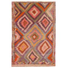 Vintage Turkish Kilim Rug with Broken Diamond Pattern and Vibrant Colors 1