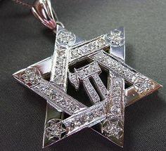ESTATE LARGE 1.05CT DIAMOND 14KT WHITE GOLD STAR OF DAVID & PENDANT AMAZING #625