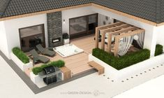 Projekt tarasu z jacuzzi - projekt indywidualny Green Design Spa, Jacuzzi, Home Fashion, Landscape Architecture, Mansions, House Styles, Design, Home Decor, Projects