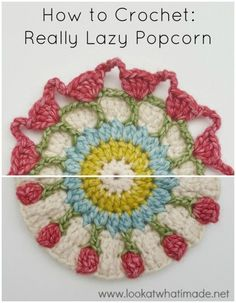 The Really Lazy Popcorn is a simple way to crochet Popcorns without having to remove your hook from your work. It is made over 2 rounds and can replace Popcorns in any pattern, provided that the patte