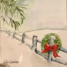 watercolor the art impressions way - snowy winter barn scen Painted Christmas Cards, Watercolor Christmas Cards, Christmas Canvas, Christmas Drawing, Christmas Paintings, Watercolor Cards, Christmas Art, Christmas Photo Cards, Watercolor Painting