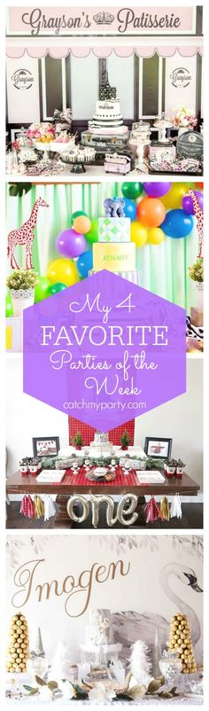 [My favorite parties this week include a pretty Under the Sea baby shower, a Pooh Bear birthday, a pretty Alice in Wonderland party and a fun Lumberjack birthday | CatchMyParty.com]