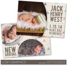PSD Photoshop Template Newborn Birth Announcement by LushGraphics, $8.00