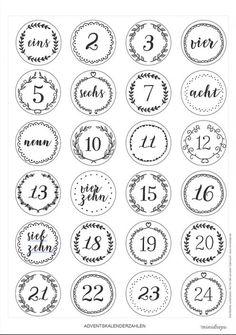 Zahlen für den Adventskalender