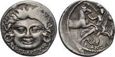 Denarius coin from Lucius Plautius Pluncus (c47BC). Note the Medusa's Head side. These coins were minted in Rome and used on the via Postumia.