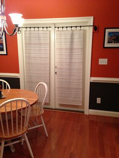 IKEA panels on a swing arm- French door privacy alternative & French Door....privacy. scrapbook paper. | Projects | Pinterest ...