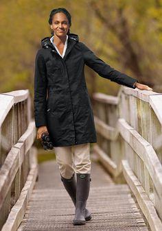 Eddie Bauer   Wetterfester Trenchcoat Schwarz   S (34/36)   Legere Kleidung für Outdoor und Freizeit online kaufen