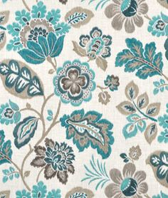 Braemore Kazoo Seaglass Fabric for rooms with turquoise blue and grey color schemes