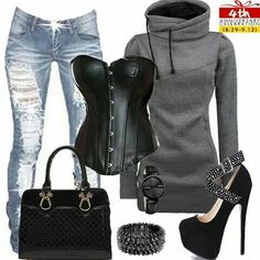 Sexy blck corset outfit with grey hoodie