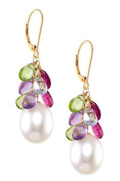 14K Yellow Gold 10mm Freshwater Pearl & Multi-Gemstone Cluster Earrings by Jewelmark