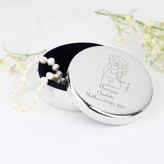Personalise this 'Me To You' Flower design Round Trinket Box with a message over…