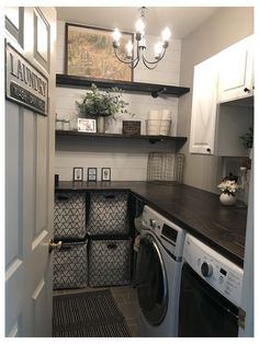 Laundry Room Remodel, Mudroom Laundry Room, Farmhouse Laundry Room, Laundry Room Organization, Laundry Room Design, Laundry In Bathroom, Laundry Baskets, Organization Ideas, Storage Ideas