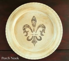 Silver Plated Round Platter w/ Fleur Des Lis French by PorchNook