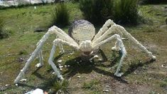 Building a Giant Spider Diy Spider Decorations, Halloween Decorations To Make, Spider Crafts, Spooky Decor, Outdoor Decorations, Halloween Themes, Halloween Entryway, Halloween House, Halloween Kids