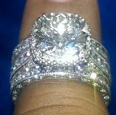 5.25 carat Tacori diamond engagement and eternity bands set in 18 karat white gold