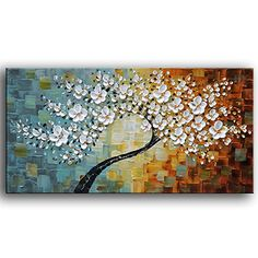 YaSheng Art -100%hand-painted Contemporary Art Oil Painting On Canvas Texture Palette Knife Tree Paintings Modern Home Interior Decor Abstract Art 3D Flowers Paintings Ready to hang 24x48inch *** You can get additional details at the image link.