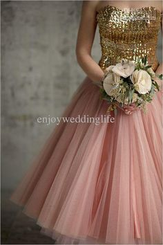 Wholesale Bridesmaid Dress - Buy 2013 Sexy New Sweetheart Tulle Knee Length Bridesmaid Dresses Gold Sequins Top Cocktail Gown BX057, $77.91   DHgate
