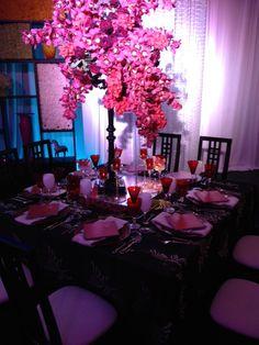 Nouveau Noir- Black Table Design with bold colors- Designs by MichaelAngelos The Event Company