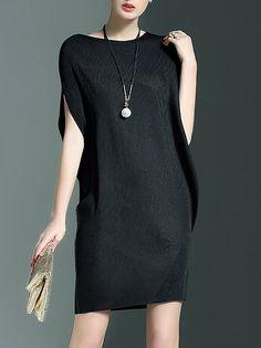 Shop Mini Dresses - Black Crew Neck Casual Mini Dress online. Discover unique designers fashion at StyleWe.com.
