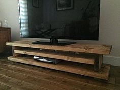 Solid Rustic Handmade Pine TV Unit, finished in a Chunky Country Oak (Light Oak, 120cm long)