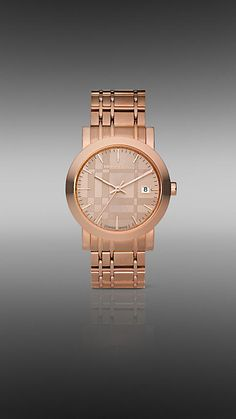 Burberry rose plated watch with check engraved sunray dial