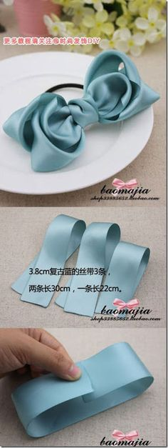 to ] Great to own a Ray-Ban sunglasses as summer gift.Ribbon Bow Tutorial by Baomajia Ribbon Hair Bows, Diy Hair Bows, Diy Ribbon, Ribbon Crafts, Fabric Bow Tutorial, Hair Bow Tutorial, How To Make A Ribbon Bow, Making Hair Bows, Diy Bow