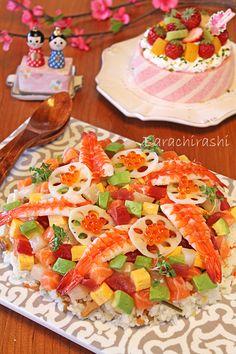 ひなまつりに海鮮バラちらし寿司☆雛ケーキ - ぱおのおうちで世界ごはん☆
