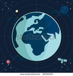 Flat Illustration of Earth with Satellite and Moon