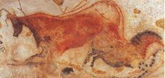 "The polychrome painting above, of a ""cow and a horse,"" is a paleolithic cave painting from the caves at Lascaux, in the Dordogne region of France. The painting is dated at approximately bce. Evolutionary Psychology, Art Rupestre, Art Premier, Painting & Drawing, Cave Painting, Rock Art, Oeuvre D'art, Art Museum, Art History"