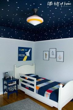 Star Wars themed wall decals – White star decals – Little Bits of Home Star Wars bedroom reveal – Little Bits of Home – Samantha's Stars – diy kid room decor Boys Bedroom Decor, Bedroom Themes, Girls Bedroom, Boys Space Bedroom, Little Boy Bedroom Ideas, Outer Space Bedroom, Boys Bedroom Paint, Bedroom Colors, Bedroom Designs