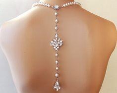Crystal Backdrop Necklace   Wedding Necklace by AmbrosiaBridal, $124.00