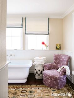 Simple roman shades with colorful tape, comfortable chair | House Beautiful