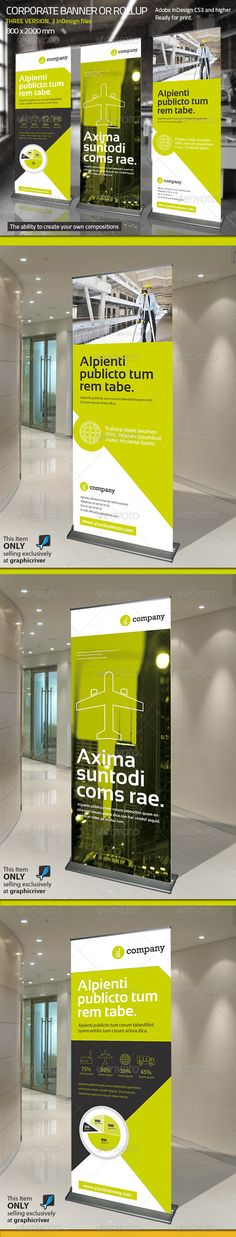 Buy Corporate Banner or Rollup Vol 6 by Paulnomade on GraphicRiver. Modern and clean design for banner/rollup. Coperate Design, Booth Design, Layout Design, Standee Design, Banner Design, Rollup Design, Exhibition Banners, Trade Show Design, Pop Up Banner