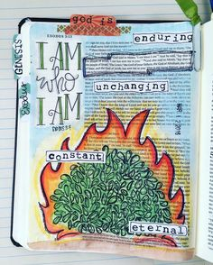When God revealed himself to Moses at the burning bush and commanded that Moses… Exodus Bible, Book Of Exodus, My Bible, Scripture Art, Bible Art, Bible Verses, Bible Study Journal, Art Journaling, Bible Studies