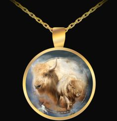 Spirit Of The White Buffalo Dreamcatcher design in a lovely gold-plated round pendant necklace, featuring the art of Carol Cavalaris. Gold Pendant Necklace, Ring Necklace, Dreamcatcher Design, Dream Catcher Art, Art Necklaces, Round Pendant, Wearable Art, Buffalo, Spirit