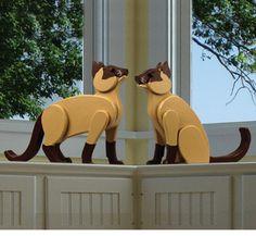 Set of 2, Life Size Siamese Cat Decor
