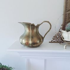 Vintage Brass Pitcher  Home Decor Display by Archival on Etsy