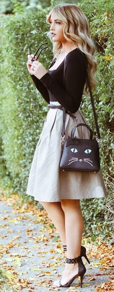Faux Suede Skirt Fall Street Style Inspo by Cara Loren