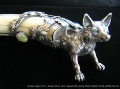 Antique Cigar Cutter Sterling Silver Fox w Jade Emerald Signed GA Scheid 1867   eBay
