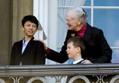 Prince Nikolai and his cousin Prince Christian with their grandmother Queen Margrethe of Denmark on her 75th birthday.