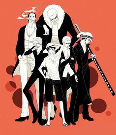 One Piece - Sir Crocodile, Donquixote Doflamingo, Sanji, Ruffy, Zorro & Trafalgar Law