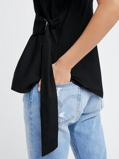 FP All Things New Lightweight Cotton Wrap Tank (Black)