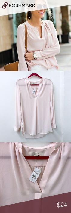 """LOFT blush pink blouse Sz XS nwt new Loft Blouse. Sz XS. Chest flat across 19"""" length 30"""" LOFT Tops Blouses"""