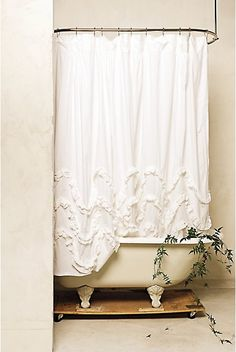 Love this shower curtain! Luxury Shabby Chic Shower curtain with claw foot tub. White Ruffle Shower Curtain, Shabby Chic Shower Curtain, White Shower, White Curtains, Ruffled Curtains, Rose Curtains, Cute Shower Curtains, Cortinas Shabby Chic, Ideas Hogar