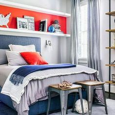 Orange and Blue Boy Room with Long Shelf Over Bed